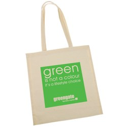 View a larger, more detailed picture of the 100 Cotton Promotional Shopper - Green Slogan Design