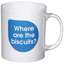 View a larger, more detailed picture of the Cambridge Mug - Caption Design - Biscuit