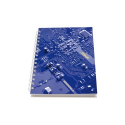 View a larger, more detailed picture of the A5 Personalised Wire Notebook - Blue Circuit Board