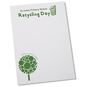DISC A6 Recycled 25 Sheet Notepad - Green Design 1