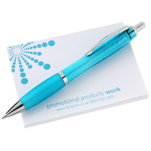 A7 Sticky Notes & Curvy Pen Gift Pack - Exclusive Colours